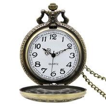 Retro Design Vintage Jewelry Unique Antique Style Workable Pocket Watch Luxury Animal Grain Engraved Bronze Quartz