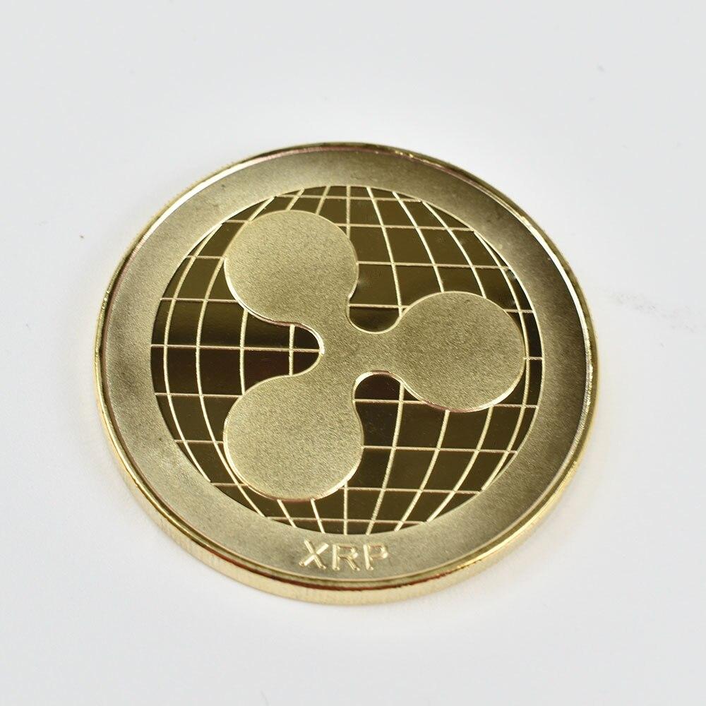 Позолоченные Биткоин Бит монета пульсация Litecoin эфириум коллекция подарок 40 мм криптовалюта монета металлическая памятная монета - Цвет: gold ripple coin