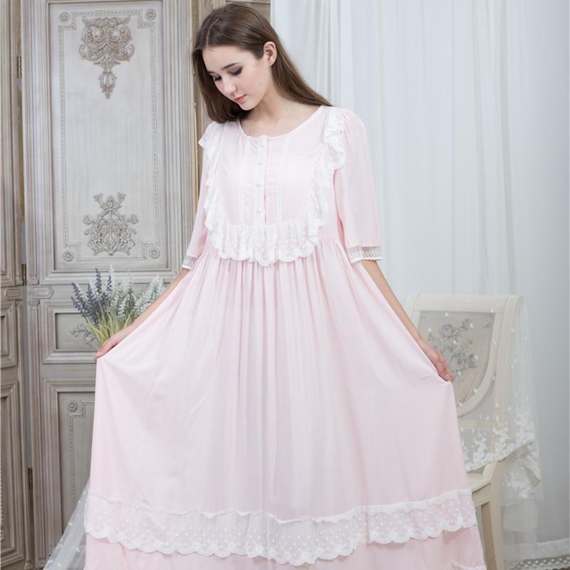 Loose Nightgown Women Round Neck Nightgowns Lace Fashion Vintage Sleepwear Homewear Nightdress Ankle Length Dress 115cm Bust
