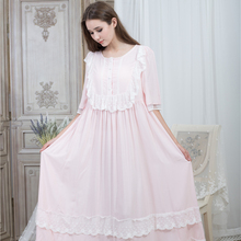 Loose Nightgown Women Round neck Nightgowns Lace Fashion Vintage Sleepwear Homewear Nightdress Ankle Length Dress 115cm bust