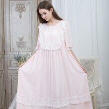 Losse Nachtjapon Vrouwen Ronde Hals Nachthemden Kant Fashion Vintage Nachtkleding Homewear Nachthemd Enkellange Jurk 115 Cm Buste