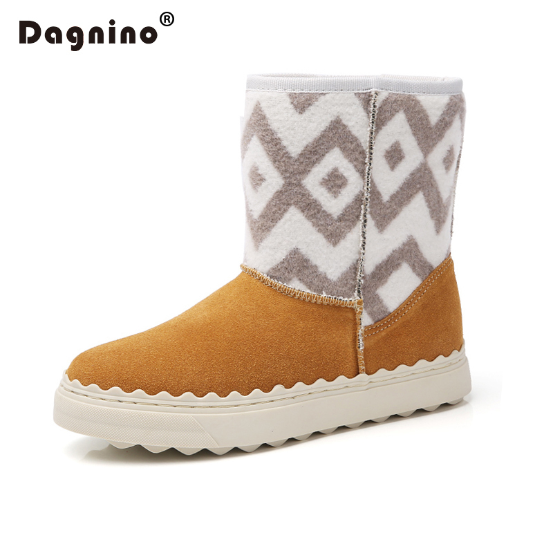 DAGNINO New Winter Snow Boots Women Short Plush Fur Casual Shoes Leather Ankle Waterproof Keep Warm Shoes Luxury Brand Moccasins