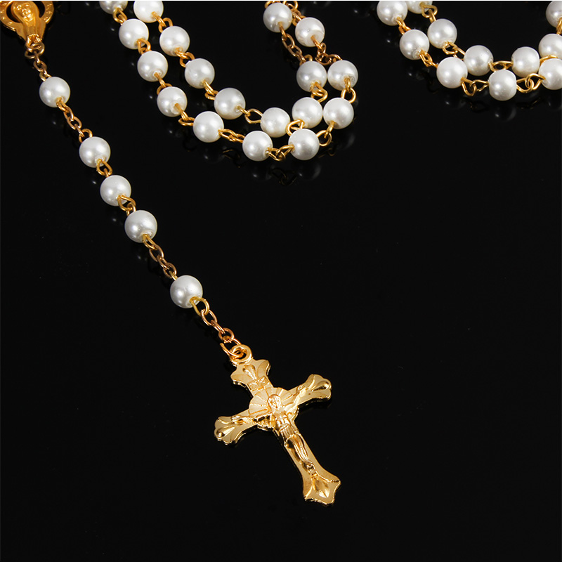 Pearl Rosary Beads Rosary Necklace Catholic Prayer Beads Cross Gold Silver Chain