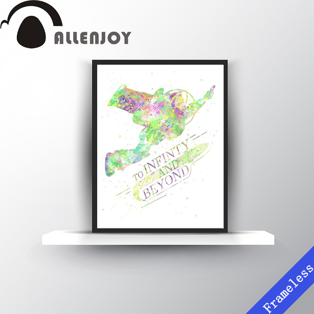 Watercolor Toy Story Infinity Motivational Quotes Kids Room Wall Art