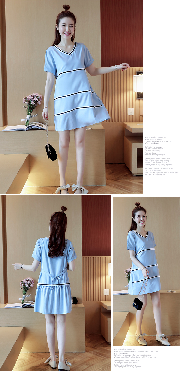 Mini Stripes Maternity Dress Blue Pregnancy Clothes 2017 Summer Maternity Clothing for Pregnant Women V-neck Dress
