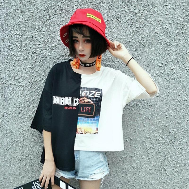 Referral Graphic Print Spliced  Korea Ulzzang Harajuku T Shirt  2019 Women  Summer Short  Sleeve O-Neck Tshirt  Female Tee Tops