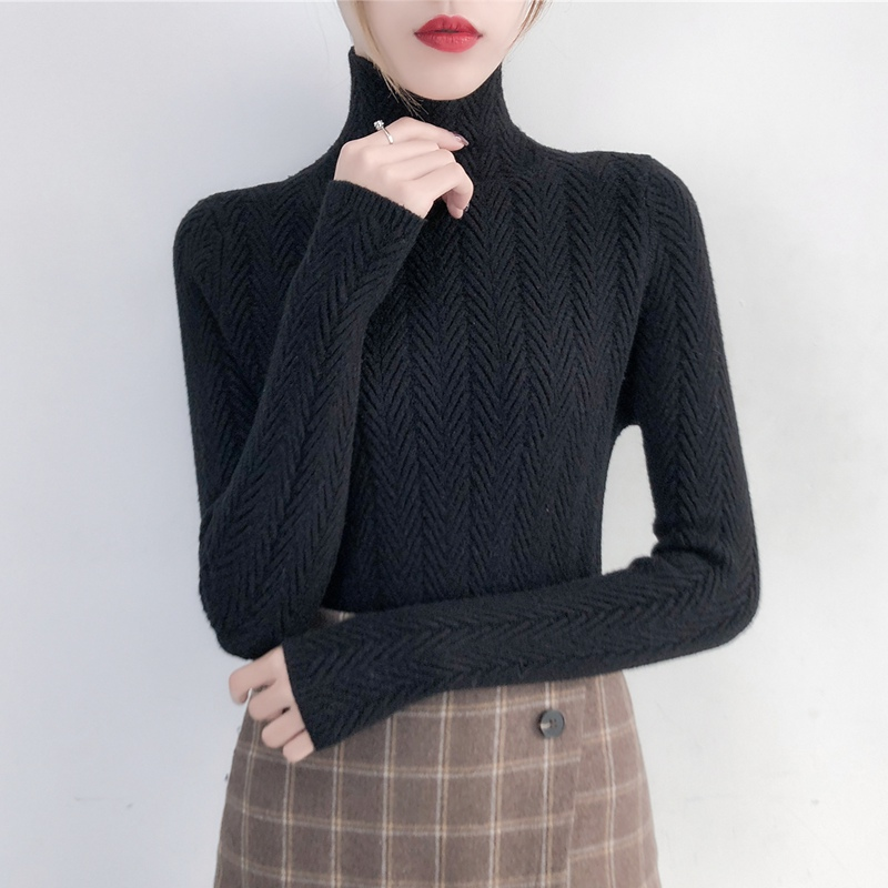 Image 3 - Underwear Woman Autumn and Winter 2019 New sweater Slim Bottom Shirt Long Sleeve Tight Knitted Shirt Thickening-in Pullovers from Women's Clothing