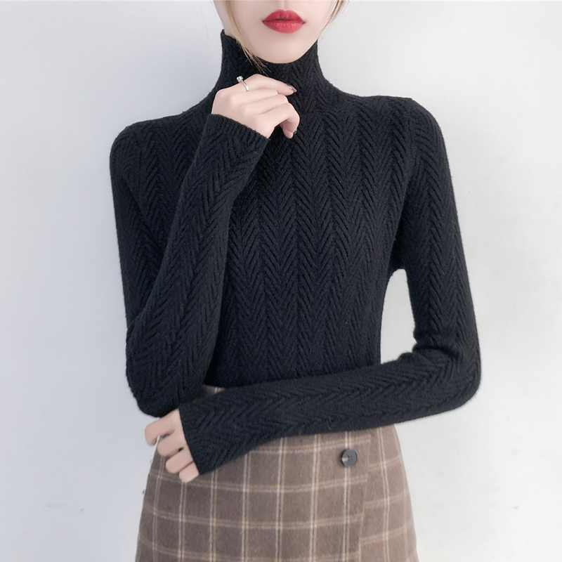 Unterwäsche Frau Herbst und Winter 2019 Neue pullover Schlank Bottom Shirt Langarm Engen Gestricktes Hemd Verdickung