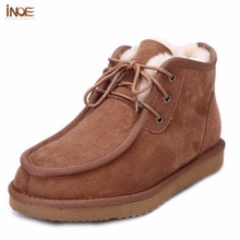 INOE Beckham same style fashion men snow boots gentleman winter shoes real sheepskin leather fur lined flats boots high quality