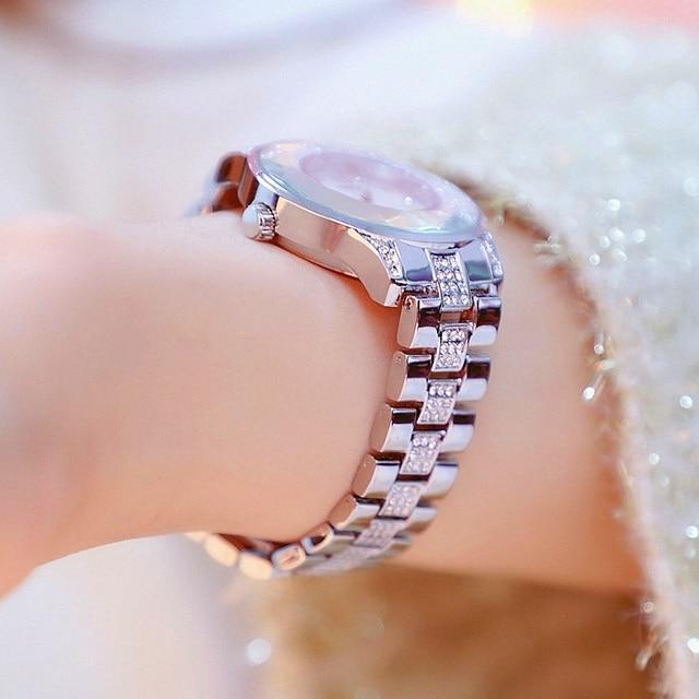 35mm Quadrante in Diamanti Signore Della Vigilanza Delle Donne Orologi Al Quarzo di Lusso D'oro Moda Femminile Casual Orologio Montres Femme Braccialetto Orologi
