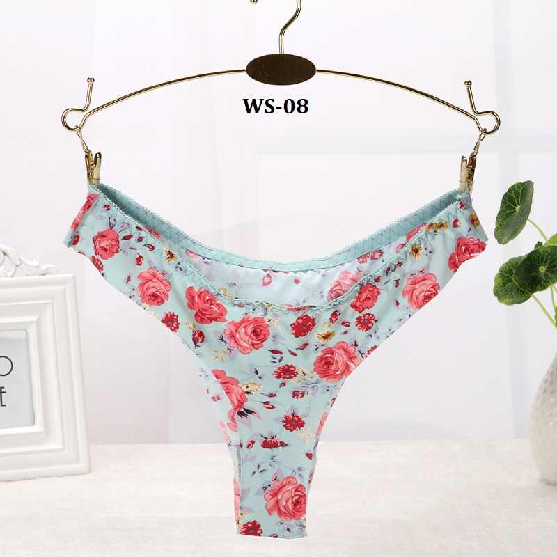 f21fee0939f2 1pcs Floral Brazilian Bikini Panties Briefs for Women Sexy Thongs Women's  Seamless Underpants Underwear Female Calcinha