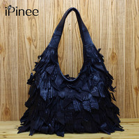 Genuine Leather Luxury Tassels 100 Real Cow Leather Elegant Multi Functional Big Shoulder Bags For Women