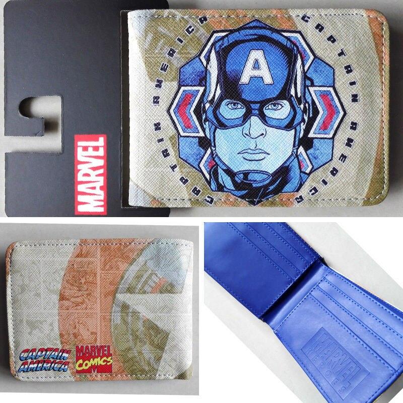 2018 New Marvel Captain America portrait wallets Purse Beige  Leather hot W036