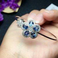 Shilovem 925 серебро Настоящее натуральный сапфир манжеты браслеты изысканные ювелирные модный подарок для женщин новый 4*5 мм завод lsz040501agl