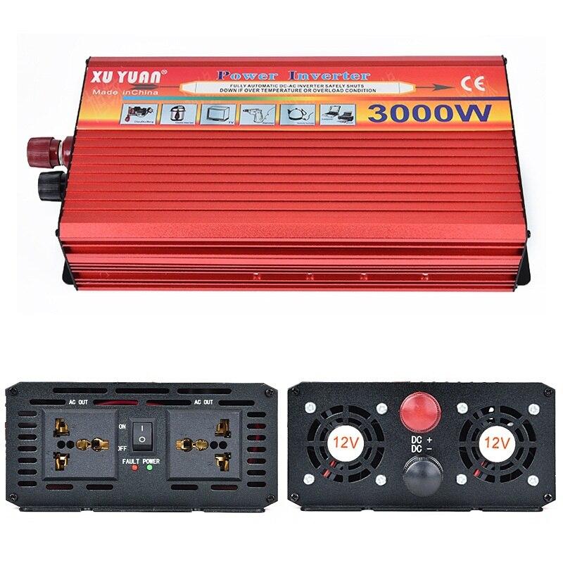 Портативный инвертор автомобиля DC 12 В к AC 220 В 3000 Вт автомобиля Зарядное устройство Мощность инвертор конвертер адаптер питания с двойной ун...
