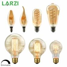 LARZI затемнения Edison лампа 4 Вт 40 Вт 220V Ретро Винтаж светодиодный спираль лампа накаливания светильник лампочка 2200K C35 T10 T45 A19 A60 ST64 G80 G95 G125