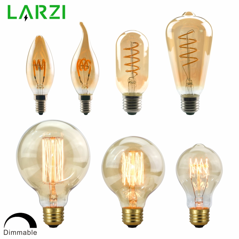 LARZI Dimmable Edison Lamp 4W 40W 220V Retro Vintage LED Spiral Filament Light Bulb 2200K C35 T10 T45 A19 A60 ST64 G80 G95 G125|Incandescent Bulbs| |  - title=