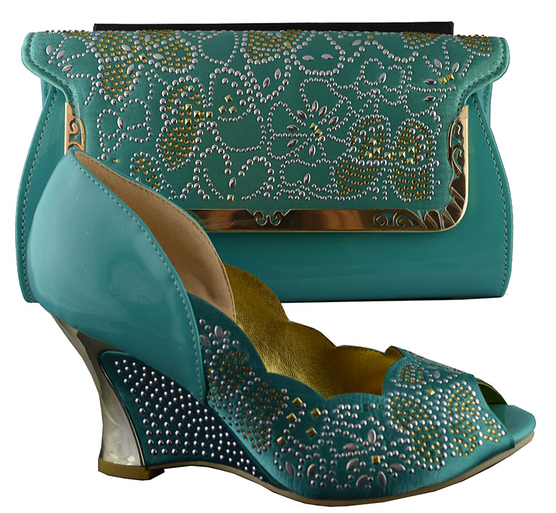 ФОТО New 2015 Fashion Italy African lady women summer high-heeled and bag,B8021Party and other uses ladies' shoes in water green.