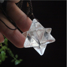 SUIRONG---410 + + + Clear NGUYÊN THẠCH ANH CRYSTAL Merkaba Star Khắc Pendant Healing(China)