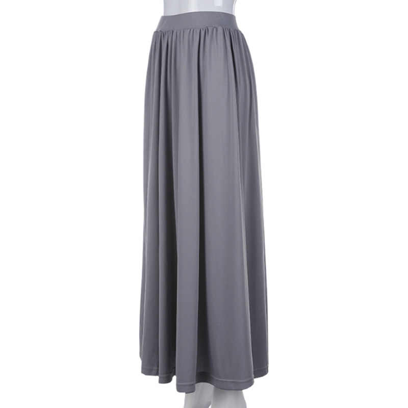 29912af6d7138 ... Vintage gray long skirt Summer Beach Elastic high waist Pleated Skirts  Female School Maxi Skirt fashion ...