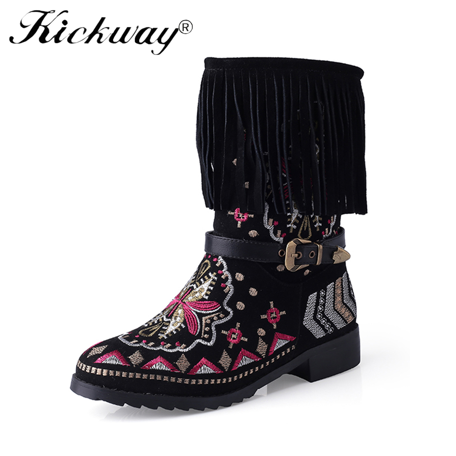 43 Bottes Pompon Brodé Ethnique Kickway Plush Thick Chinois Avec Mi mollet Femmes Zapato Dames Respirant Black Hiver Femme Automne Chaussures Mujer ccRr6qIT