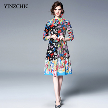 7be46bb0791 Vintage Womans Spring Printed Dress Turn-down Collor Female Casual Shirt  Dresses Sash Waisted Women