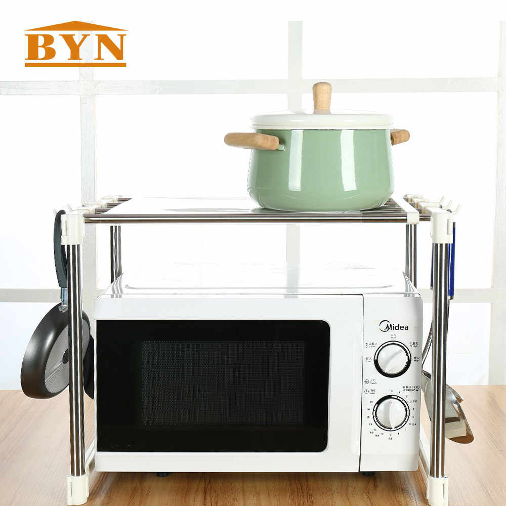 BYN Home stainless steel microwave oven shelf perfect quality kitchen tools organizer storage rack kitchen accessories DQ0826C