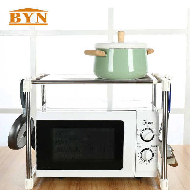 Byn Home Stainless Steel Microwave Oven Shelf Perfect Quality Kitchen Tools Organizer Storage Rack Accessories