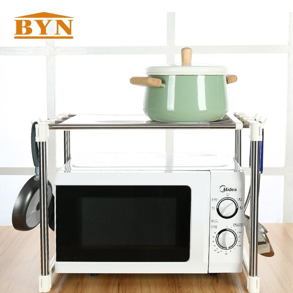 Detalle Comentarios Preguntas sobre BYN casa microondas de acero inoxidable  estante horno calidad perfecta herramientas de cocina organizador rack de  ... 9d4ec5511e15
