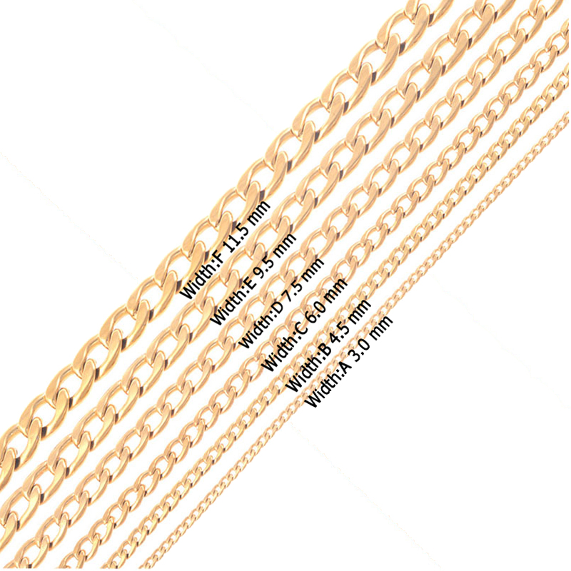 Gold 316L Stainless Steel 1:1 NK link men cuban chains