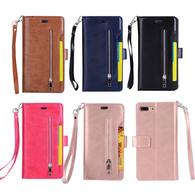 PU Leather Flip Cover Wallet Phone Case For Apple iphone 7 Plus Case With Card Pocket Coque Back Cover Flip Stand Case 5.5 inch