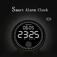 Touch Sensitive Electronic Led Smart Alarm Clock Creative Dynamic Pointer Mode Clock Built In Battery Clock