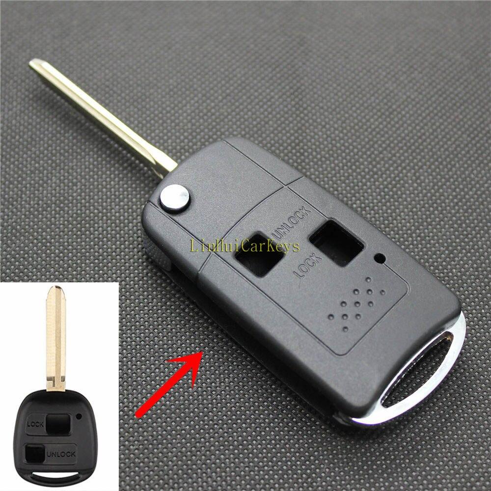 Funda de Pinecone para llave para TOYOTA CAMRY PRADO LAND CRUISER llave de coche 2 botones sin cortar TOY43 hoja modificada carcasa de llave abatible plegable Fob