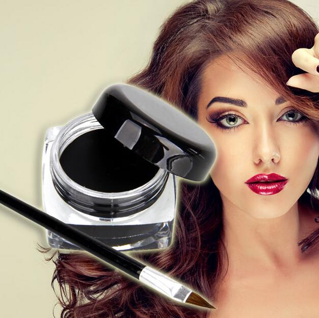 1set Make Up Eyeshadow Mini Eyeliner Gel Cream with Brush Makeup Cosmetic Black Life Waterproof Maquillaje 1