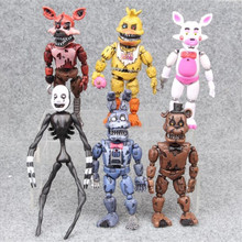 6 Pcs/Set 13-15 CM Anime Figure Five Night At Freddy Fnaf Bear Foxy Pvc Model Action Toys Children Birthday Gifts