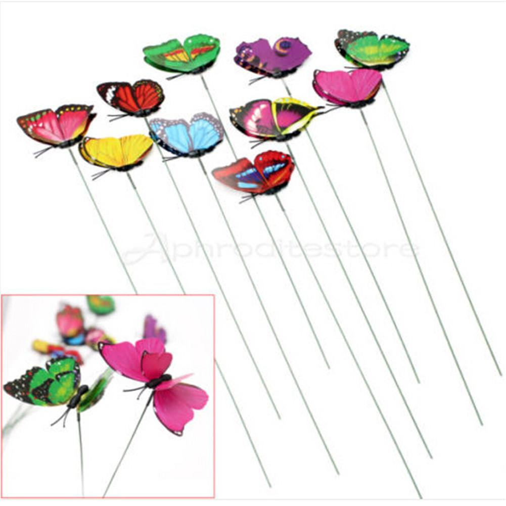 10Pcs Colorful Butterfly On Sticks Garden Yard Lawn Craft Art statues for decoration simulation Animal