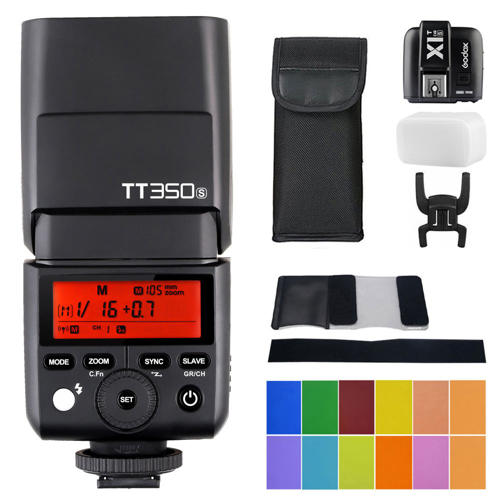 Godox TT350S Speedlite 2.4G Wireless Master & Slave 1/8000S HSS TTL Flash Speedlight with X1T-S Wireless Flash Trigger Transmitt spash sl 685c gn60 wireless master slave flash light ttl speedlite for nikon lcd screen cameras flash adjustable fill light