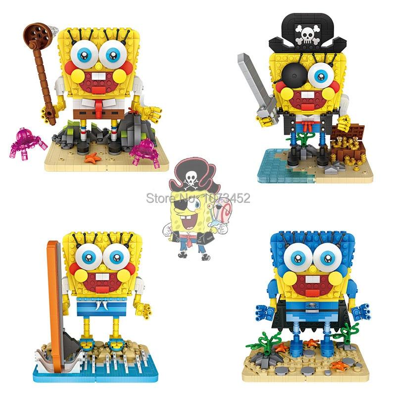 MOC mini building blocks figures  spongebob surf& pirate & hero version DIY bricks model figure brinquedos loz block for ages 6+ moc mini building blocks figures spongebob surf