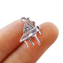 TJP 20pcs Antique Silver Tone Piano Musical Instruments Charms Pendants Beads for DIY Bracelet Jewelry Making Findings 19x15mm