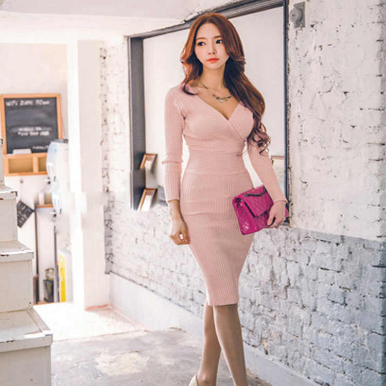 Новинка 2019 года, весенние женские эластичные вязаные платья высокого качества, модное тонкое элегантное платье-карандаш с длинным рукавом и v-образным вырезом