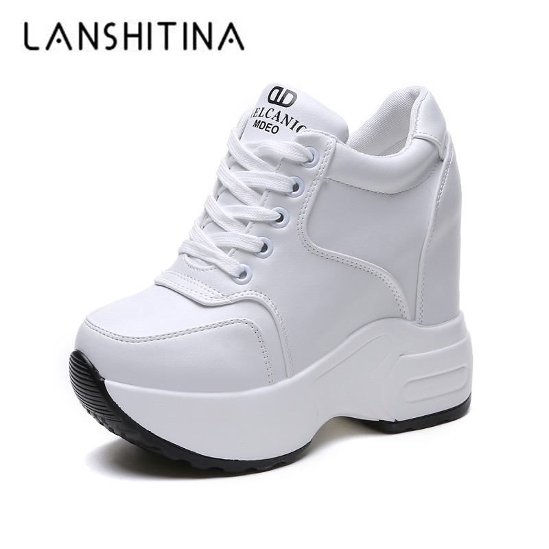 Women's Ankle Boots 2018 Autumn PU Leather Shoes Woman Platform Height Increased Sneakers 10 CM Thick Sole Wedges White Boots