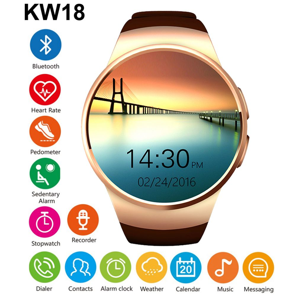 Smart Watch Men Women KW18 SIM MTK2502 Heart Rate Monitor Smartwatch Touch Screen bluetooth Wristwatch for