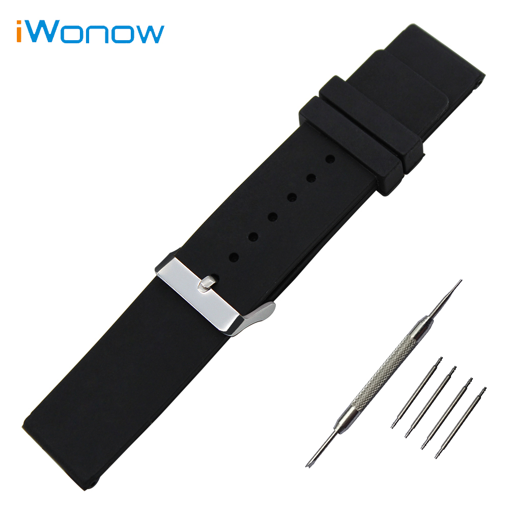 Silicone Rubber Watch Band for Pebble Time Round 20mm / Bradley Timepiece Stainless Steel Pin Buckle Strap Wrist Belt Bracelet 20mm silicone rubber watch band for pebble time round 20mm bradley timepiece stainless steel buckle strap resin bracelet black