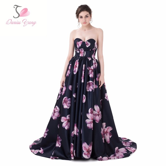 SiSiBridal Sweetheart Ball Gown Evening Dress Black Floral Print ...