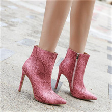 Autumn and winter fashion shoes new womens boots pointed sexy fine with snakeskin pattern large size 35-42