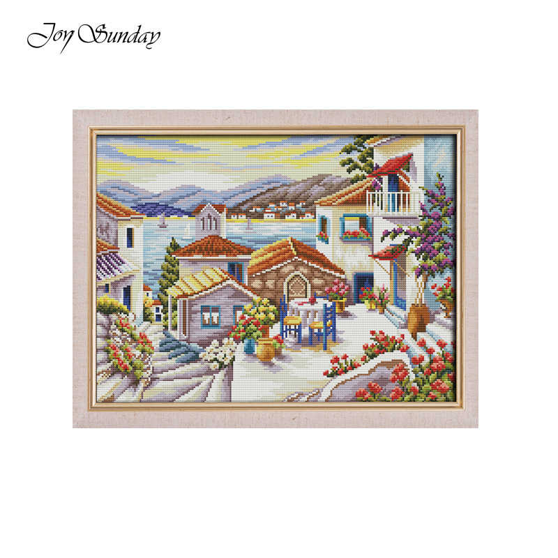 Joy Sunday Beach House Scenic Painting Cross Stitch Kits for Embroidery Needlework Sets DMC 11CT 14CT Printed Canvas Home Decor