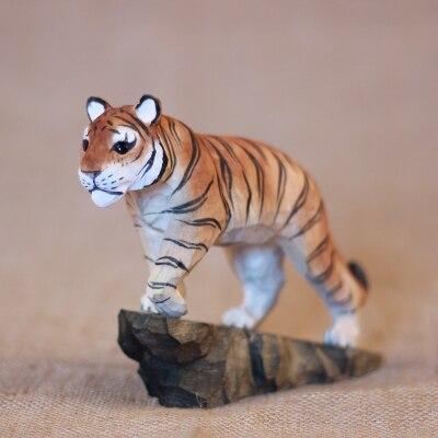 Figurine d'escalade de tigre en bois massif sculpté à la main animaux Feng Shui ornements sculpture sur bois artisanat décoration douce