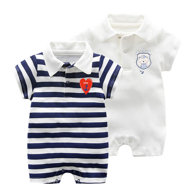 4127d17e882d New baby Clothes short sleeved striped baby rompers Summer cotton ...
