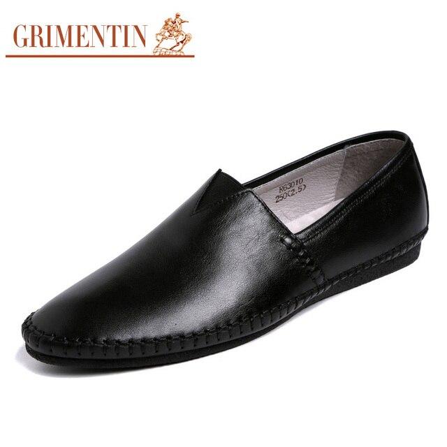 GRIMENTIN марка лето повседневная мужчины мокасины из натуральной кожи мягкой дышащей белый мужская обувь квартиры