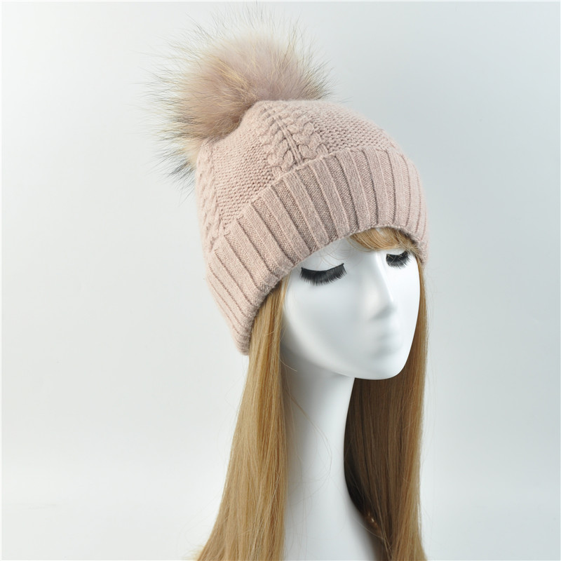 Autumn Winter Hats for Women Knitted Beanie Hat Pom Pom Cap Wool Hat with Real Raccoon Fur Pompom Female Skullies Beanie Hats autumn winter hats for women knitted beanie hat pom pom cap wool hat with real raccoon fur pompom female skullies beanie hats